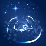 Bożenarodzeniowa narodzenie jezusa scena Joseph i Mary mienie dziecko Jezus, ręka rysujący nakreślenie ilustracja wektor