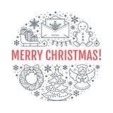 Bożenarodzeniowa nowego roku sztandaru ilustracja Wektor kreskowa ikona zima wakacje choinka, prezenty, anioł, list Zdjęcia Royalty Free