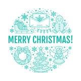 Bożenarodzeniowa nowego roku sztandaru ilustracja Wektor kreskowa ikona zima wakacje choinka, prezenty, anioł, list Fotografia Stock