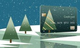 Bożenarodzeniowa o temacie karta kredytowa z drzewem nakrywającym z gwiazdą zobaczy na śniegu obok jeziora z jednakowym przygląda royalty ilustracja