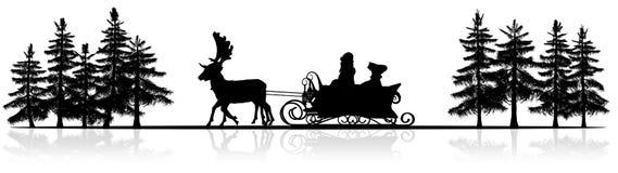 Bożenarodzeniowa panorama - Święty Mikołaj sanie, rendeers, drzewa Fotografia Stock
