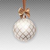 Bożenarodzeniowa piłka z piłką i faborek na Przejrzystej tło wektoru ilustraci Zdjęcia Stock