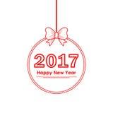 Bożenarodzeniowa piłka z teksta Szczęśliwym nowym rokiem 2017 również zwrócić corel ilustracji wektora Zdjęcie Royalty Free