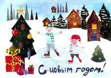 Bożenarodzeniowa pocztówka z prosiaczkami jeździć na łyżwach na błękitnym tle beak dekoracyjnego latającego ilustracyjnego wizeru ilustracja wektor