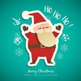 Bożenarodzeniowa Santa Claus kreskówka na zielonej tło ilustraci Zdjęcie Stock