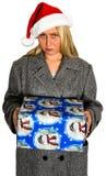 Bożenarodzeniowa Santa kobiety teraźniejszość Odizolowywająca Zdjęcia Royalty Free