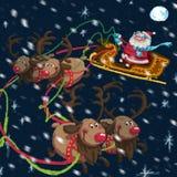 Bożenarodzeniowa scena kreskówka Święty Mikołaj z saniem i reniferami Fotografia Royalty Free