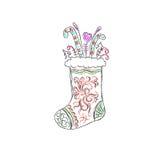Bożenarodzeniowa skarpeta, nakreślenie, wektorowa ilustracja Zdjęcia Royalty Free