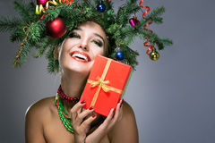 Bożenarodzeniowa szczęśliwa kobieta Obraz Royalty Free