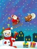 Bożenarodzeniowa szczęśliwa scena z różnymi zwierzętami Santa Claus i bałwanem ilustracji