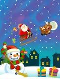 Bożenarodzeniowa szczęśliwa scena z różnymi zwierzętami Santa Claus i bałwanem royalty ilustracja