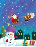 Bożenarodzeniowa szczęśliwa scena z różnymi zwierzętami Santa Claus i bałwanem ilustracja wektor