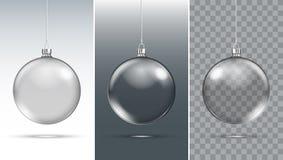Bożenarodzeniowa szklana piłka ścinku dekoraci rogaczy odosobniony ścieżki czerwieni xmas ilustracji