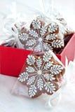 Bożenarodzeniowa teraźniejszość w prezenta pudełku, piernikowi ciastka Zdjęcie Stock
