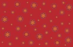 Bożenarodzeniowa wektorowa ilustracja z płatkami śniegu na czerwonym tle Zdjęcia Stock