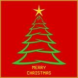 Bożenarodzeniowa wiadomość z drzewem ilustracja wektor