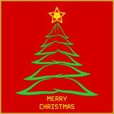 Bożenarodzeniowa wiadomość z drzewem royalty ilustracja