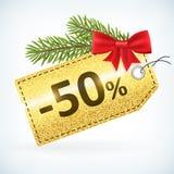 Bożenarodzeniowa złota błyskotliwość 50 procentów etykietka royalty ilustracja