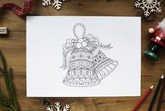 Bożenarodzeniowa złotego dzwonu tematu rysunków dekoracja Obraz Stock