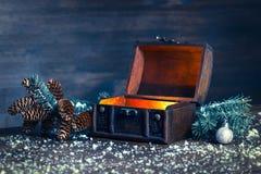 Bożenarodzeniowa zimy czarodziejka z cudem w rozpieczętowanym klatki piersiowej tle Zdjęcia Stock