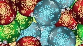 Bożenarodzeniowa zimy tekstura bezszwowy wzór dla nowego roku od stubarwnych round piłek, choinka Wektorowy tło ilustracji