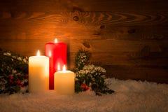 Bożenarodzeniowe świeczki wciąż życie Fotografia Royalty Free