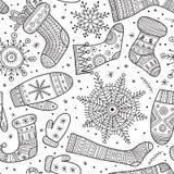 Bożenarodzeniowe boho mitynki, płatki śniegu i skarpeta bezszwowy wzór, Fotografia Royalty Free