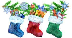 Bożenarodzeniowe colorfull skarpety z prezentami i świerczyn gałąź beak dekoracyjnego latającego ilustracyjnego wizerunek swój pa royalty ilustracja