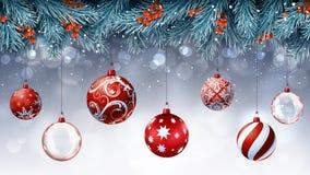 Bożenarodzeniowe czerwone dekoracje z błękitnymi jedlinowymi gałąź zdjęcia stock
