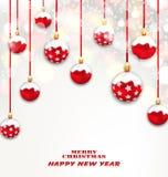 Bożenarodzeniowe Czerwone Szkliste piłki na Migocącym Lekkim tle Obrazy Royalty Free