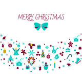 Bożenarodzeniowe dekoracj ikony więcej toreb, Świąt oszronieją Klaus Santa niebo Zdjęcia Stock
