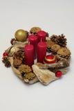 Bożenarodzeniowe dekoracje driftwood i rożki Zdjęcie Stock
