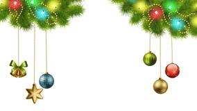 Bożenarodzeniowe dekoracje I światła Na Przejrzystym tle ilustracja wektor