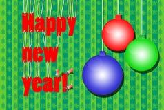 Bożenarodzeniowe dekoracje i wpisowy Szczęśliwy nowy rok Zdjęcie Royalty Free