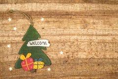 Bożenarodzeniowe dekoracje na drewnianym tle Piękni boże narodzenia ca Obrazy Royalty Free