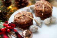Bożenarodzeniowe dekoracje owsów ciastka dla Święty Mikołaj iglaści drzewa i gałąź - fotografia stock