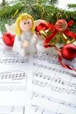 Bożenarodzeniowe dekoracje, postacie aniołowie i notatki, Obrazy Stock
