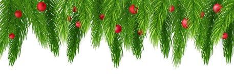 Bożenarodzeniowe dekoracje z jedlinowym drzewem, holly, jagodami i decorativ, royalty ilustracja
