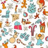 Bożenarodzeniowe ikony wektorowe Boże Narodzenie ustawiający plakat 2017 nowy rok, wieczór swiat Obrazy Stock