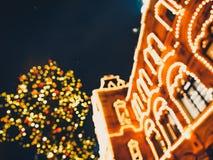 Bożenarodzeniowe iluminacje i dekoracje boże narodzenia i nowy rok w Moskwa, Rosja plac czerwony obrazy royalty free