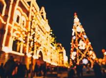 Bożenarodzeniowe iluminacje i dekoracje boże narodzenia i nowy rok w Moskwa, Rosja plac czerwony zdjęcie royalty free