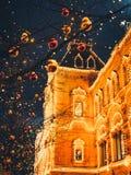 Bożenarodzeniowe iluminacje i dekoracje boże narodzenia i nowy rok w Moskwa, Rosja plac czerwony fotografia royalty free