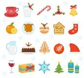 Bożenarodzeniowe karmowe ikony ustawiać Set tradycyjni boże narodzenia jedzenie i desery karmowi dla Santa Set świąteczny jedzeni ilustracji