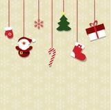 Bożenarodzeniowe obwieszenie zabawki wzór dekorować karty dla nowego ye Zdjęcia Stock