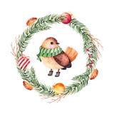 Bożenarodzeniowe piłki, cukierek, serce, pinecones i śliczny ptak, Fotografia Stock