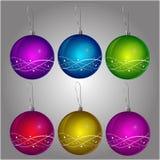 Bożenarodzeniowe piłki w 6 kolorach Obrazy Royalty Free