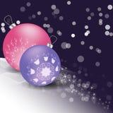 Bożenarodzeniowe piłki z ornamentem i śniegiem royalty ilustracja