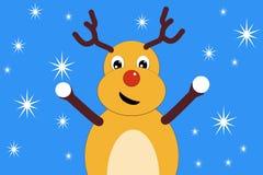 Bożenarodzeniowe rogacz oferty bawić się snowballs Zdjęcia Royalty Free