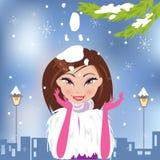 Bożenarodzeniowe wektorowe ilustracje z piękną dziewczyną Zdjęcia Royalty Free