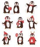Bożenarodzeniowego ślicznego pingwinu charakteru kreskówki wektorowy ptak świętuje Xmas pozy - bawić się, komarnica i szczęśliwy  ilustracja wektor